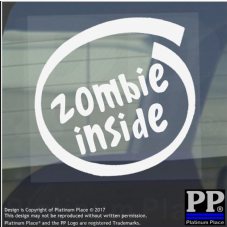1 x Zombie Inside-Window,Car,Van,Sticker,Sign,Vehicle,Horror,Cannibal,Thriller